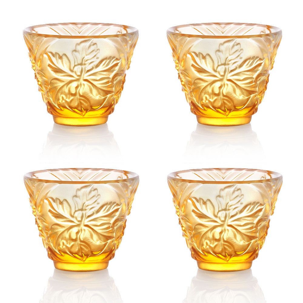 Sake Glass, Shot Glass - To Drink Amongst Flowers (Set of 4pcs), Amber - LIULI Crystal Art