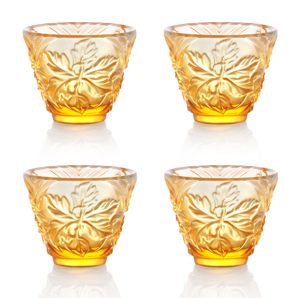 - Sake Glass, Shot Glass - To Drink Amongst Flowers (Set of 4pcs), Amber - LIULI Crystal Art
