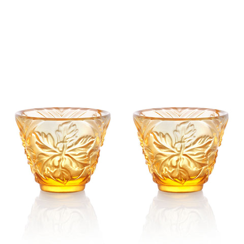 Sake Glass, Shot Glass - To Drink Amongst Flowers (Set of 2pcs), Amber