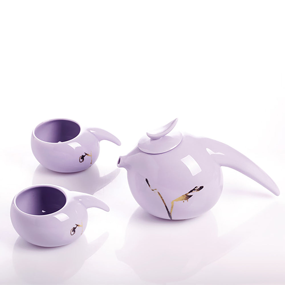 Robin, Herald of the Dawn (1 Teapot, 2 Teacups) - Holiday Tea Set of 3 - LIULI Crystal Art