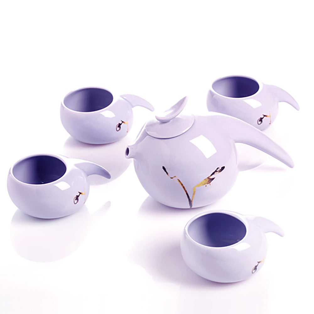 Bone China Tea Set, Robin, Herald of the Dawn (1 Teapot, 4 Teacups) - LIULI Crystal Art