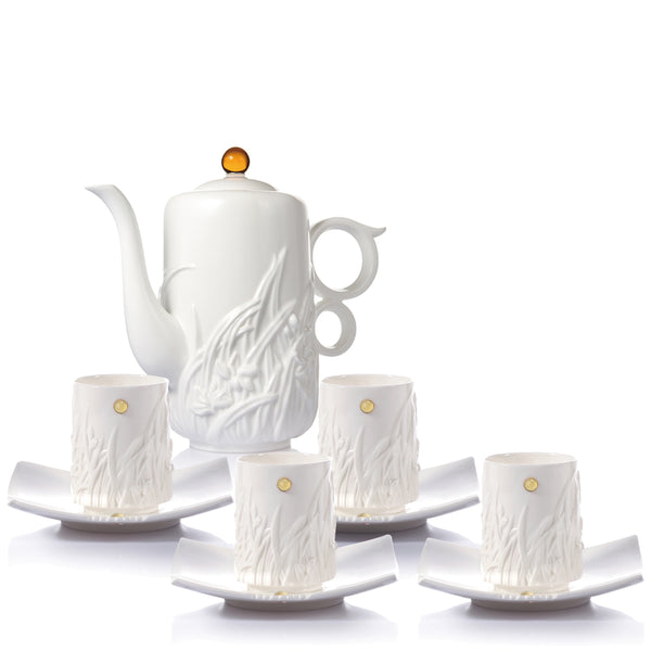 Bone China Tea Set (Seasonal Tastes) - Fragrant Orchid (Set of 5) - LIULI Crystal Art | Collectible Glass Art