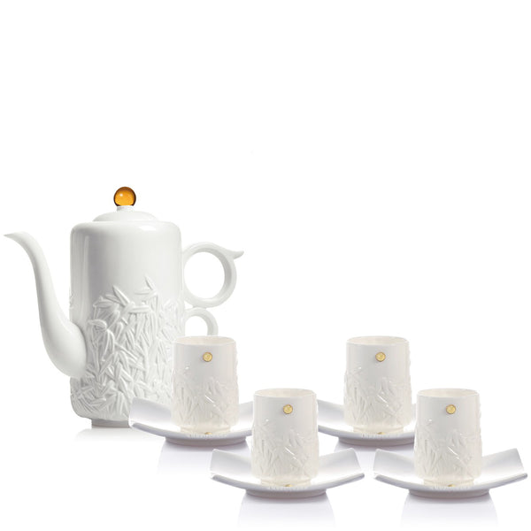 - Bone China Tea Set (Seasonal Tastes) - Refined Bamboo (Set of 5) - LIULI Crystal Art
