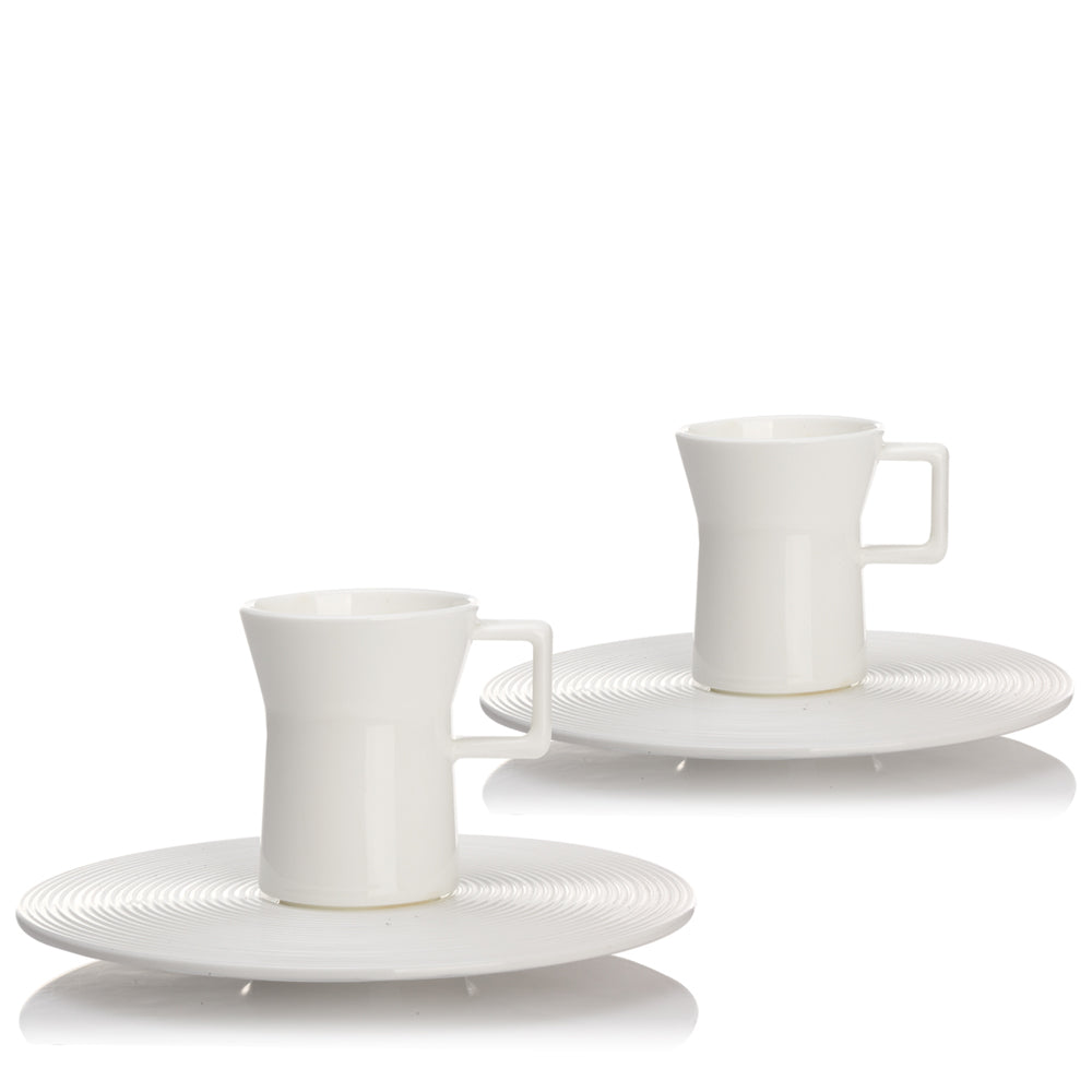 Bone China Coffee Set - A Leisurely Drop of Red, Espresso Cup (Set of 2) - LIULI Crystal Art - Powder White.