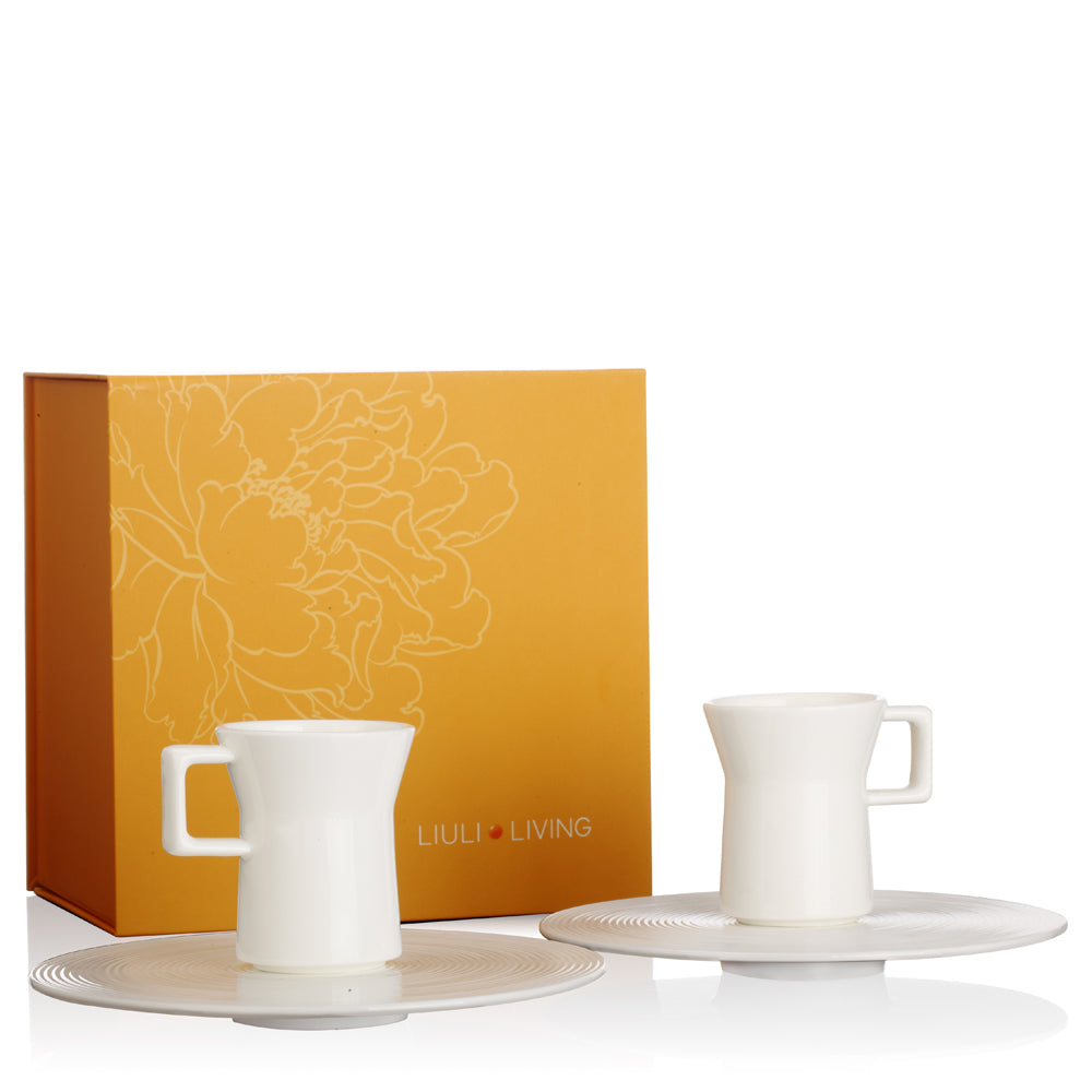 Bone China Coffee Set - A Leisurely Drop of Red, Espresso Cup (Set of 2) - LIULI Crystal Art