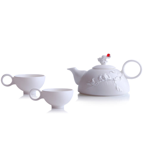 Bone China Tea and Coffee Set (1 Tea Pot & 2 Cups) - Autumn Mountain (Set of 3)