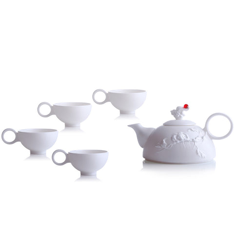 Bone China Tea and Coffee Set (1 Tea Pot & 4 Cups) - Autumn Mountain (Set of 5)