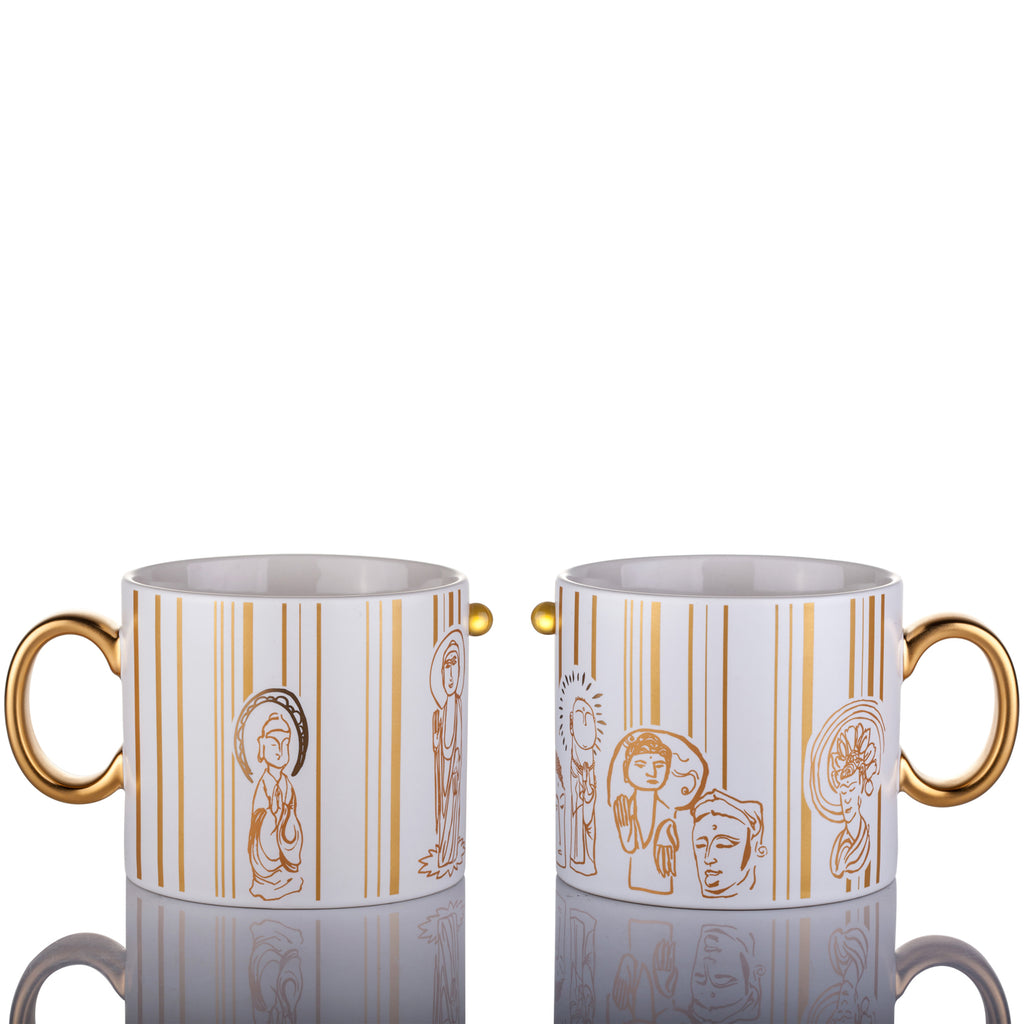 Bone China Tableware, Zen, Freedom Mug (Set of 2) - LIULI Crystal Art