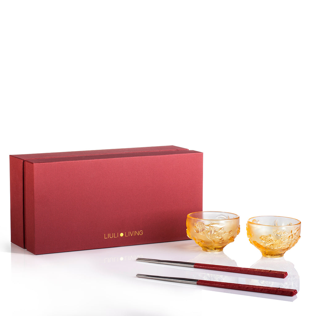 LIULI Crystal Goldfish Bowl, Peony Chopsticks Set, The Joy of Fish