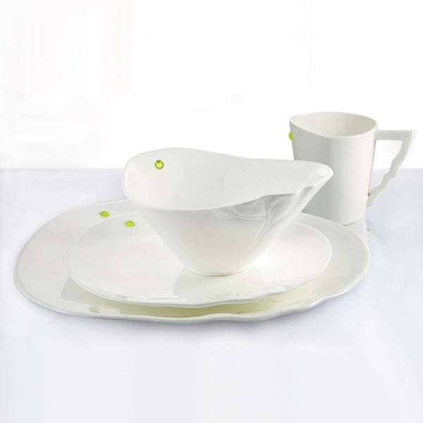 "Bone China Tableware - ""A Gentle Gust Through the Garden, the Lotus"" (Set of 4pcs) - LIULI Crystal Art"