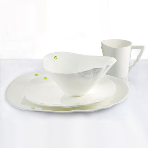 "Bone China Tableware - ""A Gentle Gust Through the Garden, the Lotus"" (Set of 4pcs)"