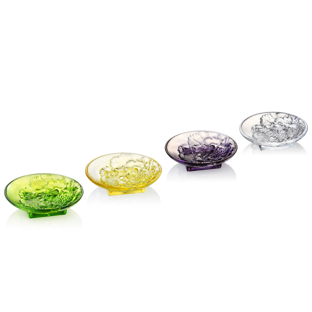Fragrant Aerial Dance (Saucer) - Tableware (Set of 4pcs) - LIULI Crystal Art - Green / Amber / Violet / Clear.