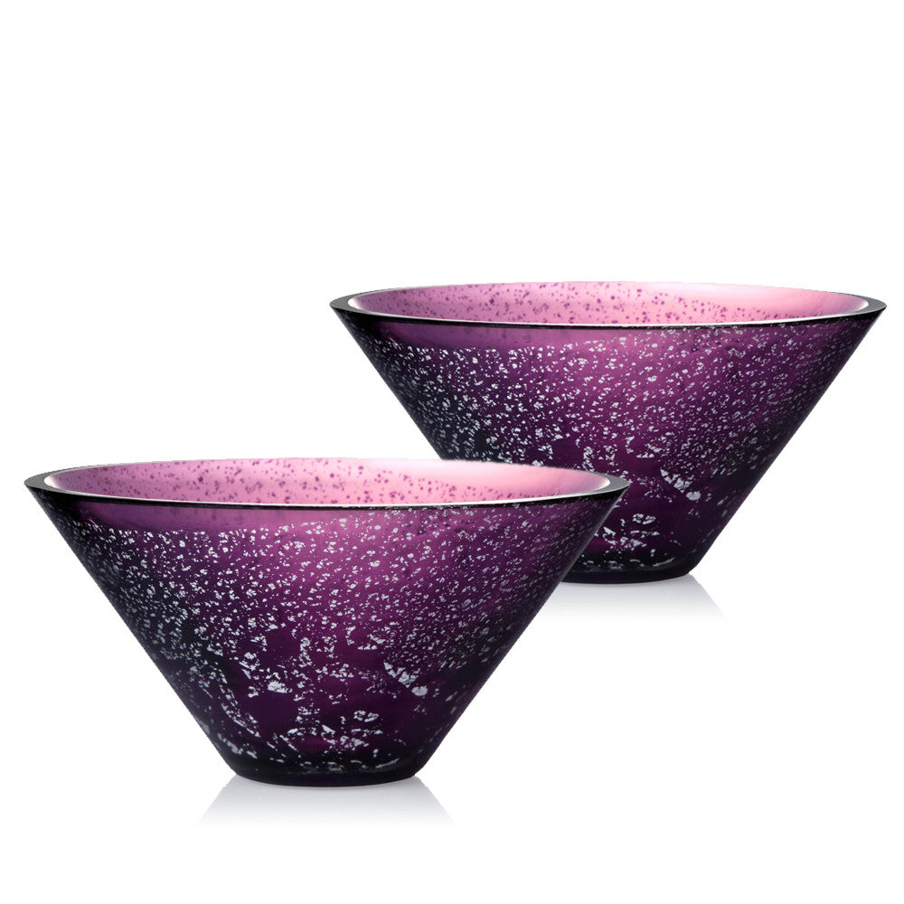 Lavender Dreams - Crystal Bowl Gift Set with Silver Foil (Set of 2pcs) - LIULI Crystal Art - Purple with Silver Foil.