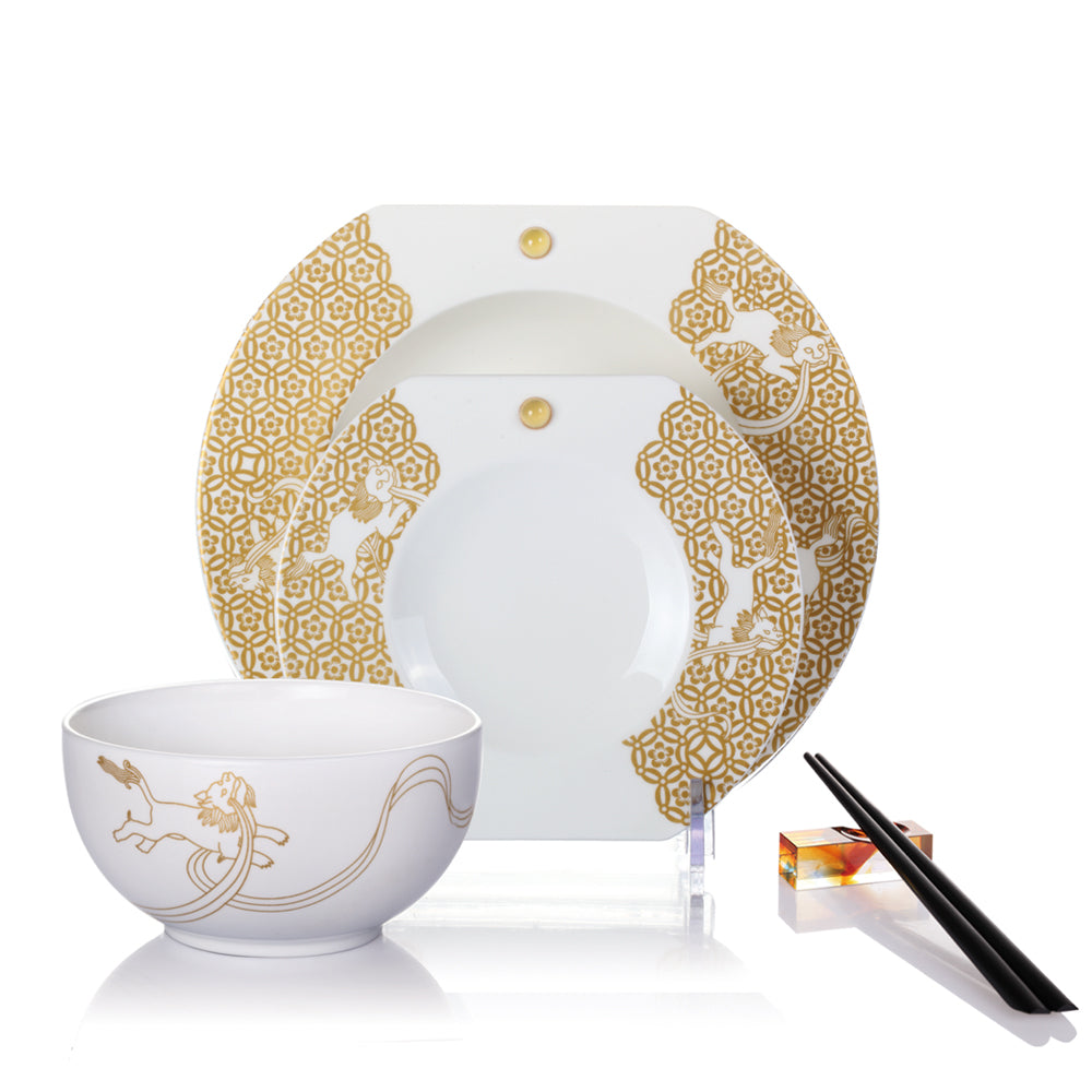 Bone China Fine Dinning Set - Flower Dance of the Auspicious Lion (Set of 5) - LIULI Crystal Art