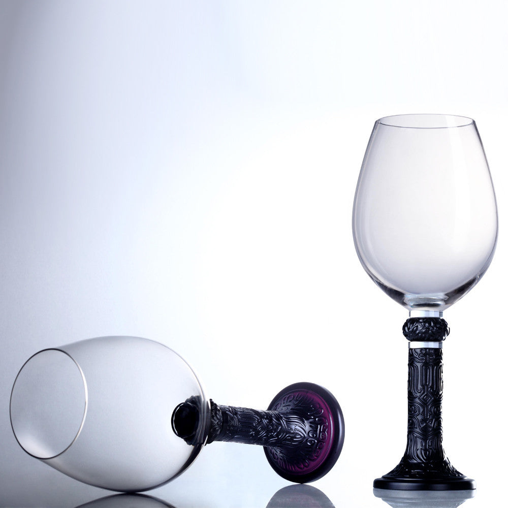Wine Goblet, Bordeaux Glass - Moon Shadows (Set of 6) - Black (Artist's Edition) - LIULI Crystal Art - [variant_title].