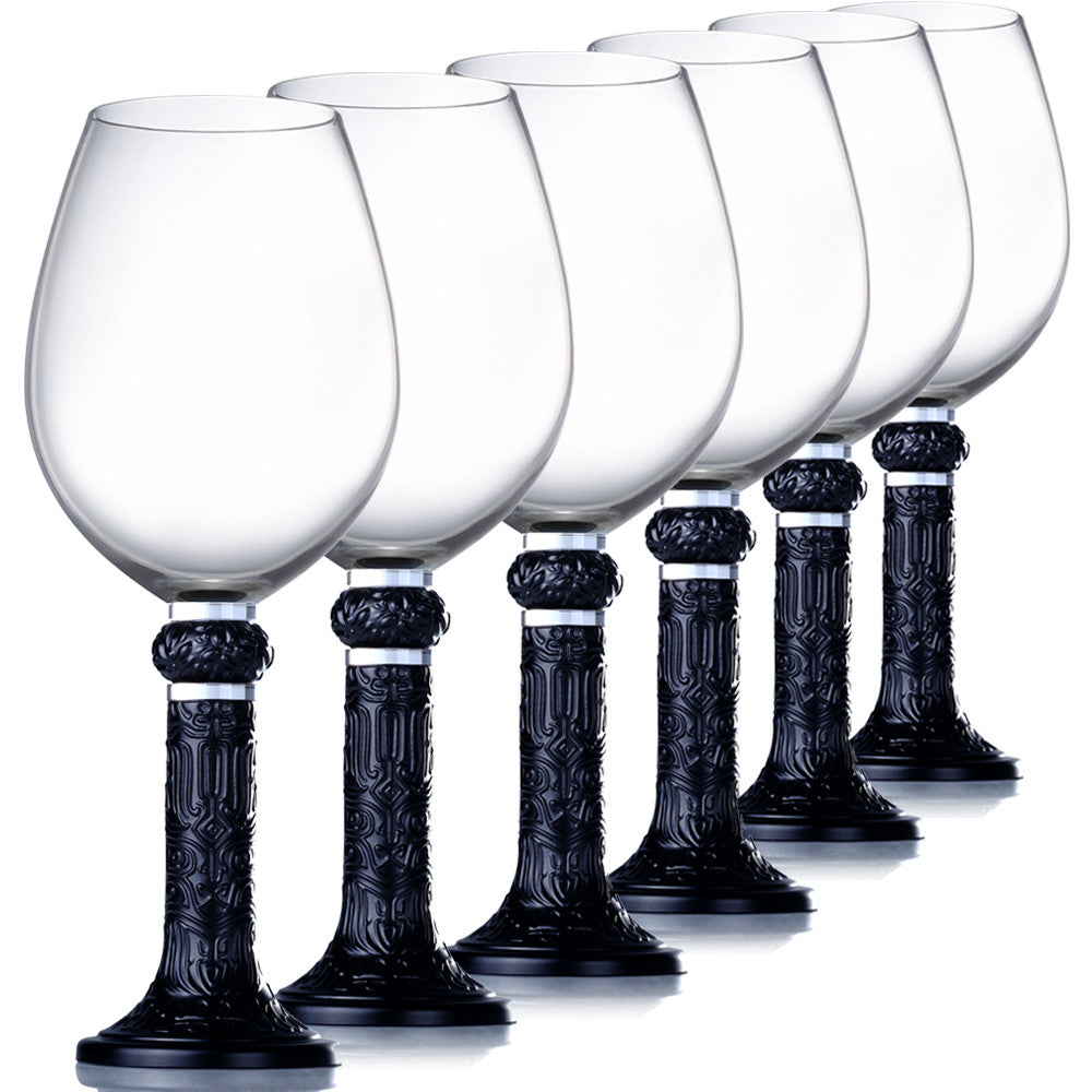Wine Goblet, Bordeaux Glass - Moon Shadows (Set of 6) - Black (Artist's Edition) - LIULI Crystal Art - Black (Set of 6pcs).