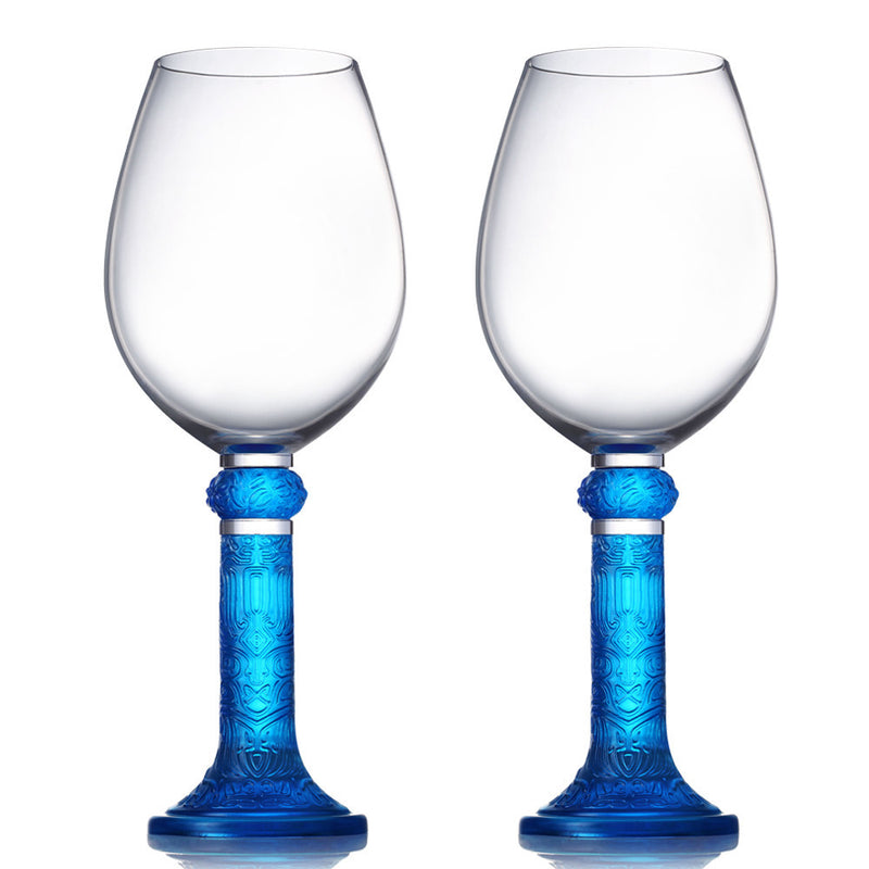 Wine Goblet, Bordeaux Glass, Moon Shadows (Set of 2) - LIULI Crystal Art - Sky Blue.