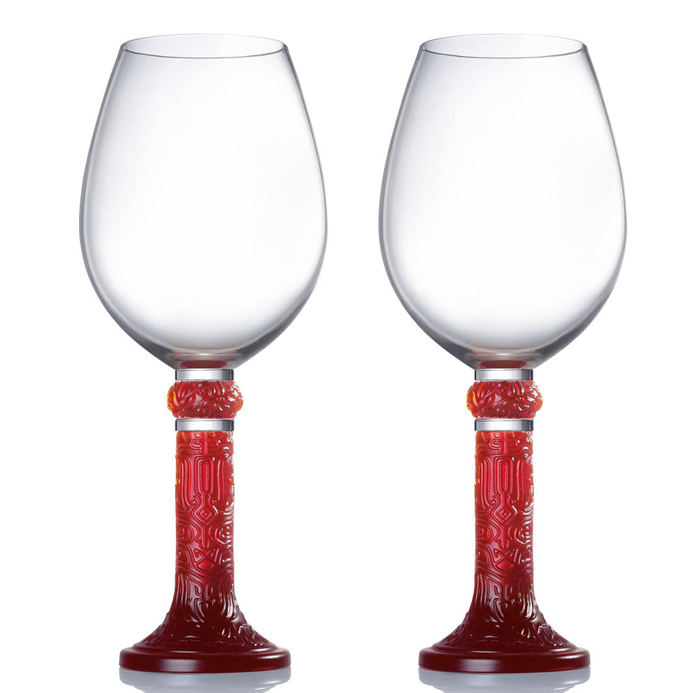 Wine Goblet, Bordeaux Glass, Moon Shadows (Set of 2) - LIULI Crystal Art - Red.