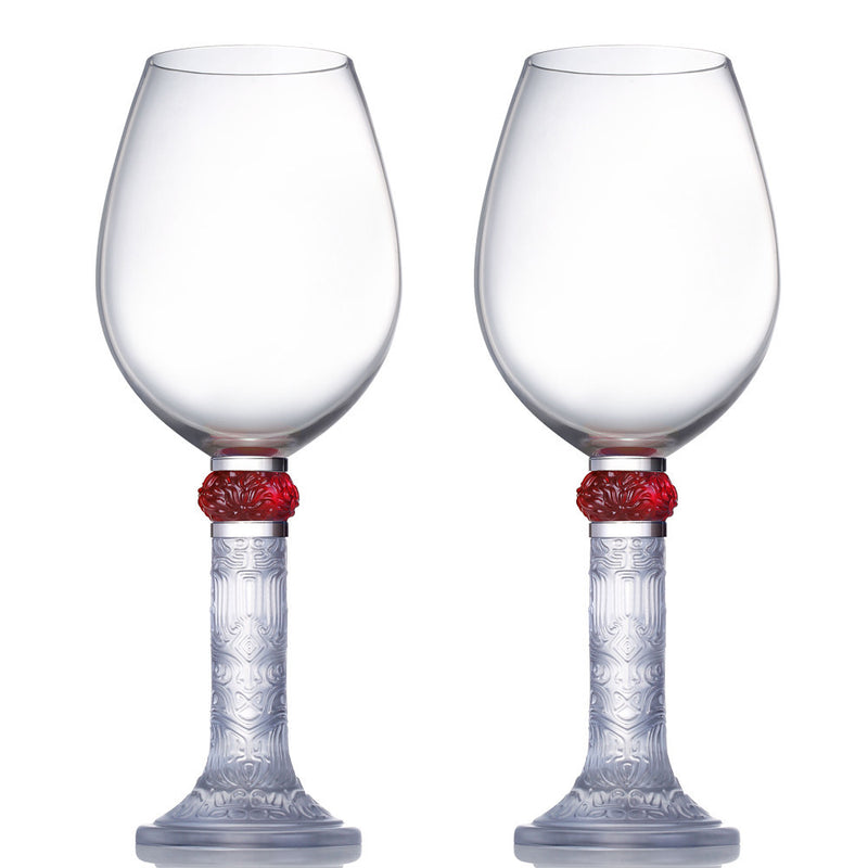 Wine Goblet, Bordeaux Glass, Moon Shadows (Set of 2) - LIULI Crystal Art - Clear.