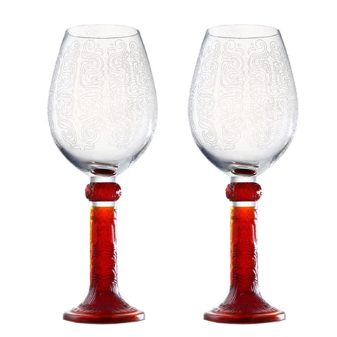 Bordeaux Glass (Dragon Pattern) - Moon Shadows (Set of 2)