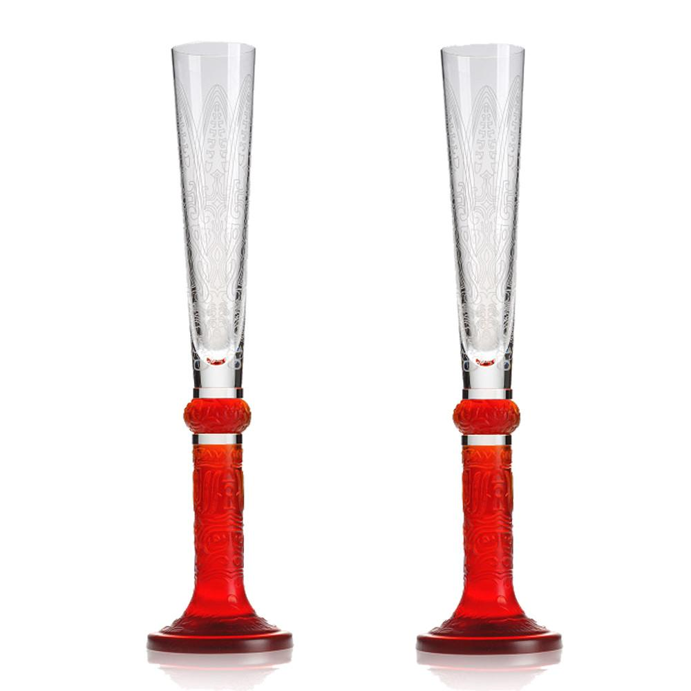 Champagne Flute with Auspicious Pattern - Bubbly Reflections (Set of 2) - LIULI Crystal Art - Red.