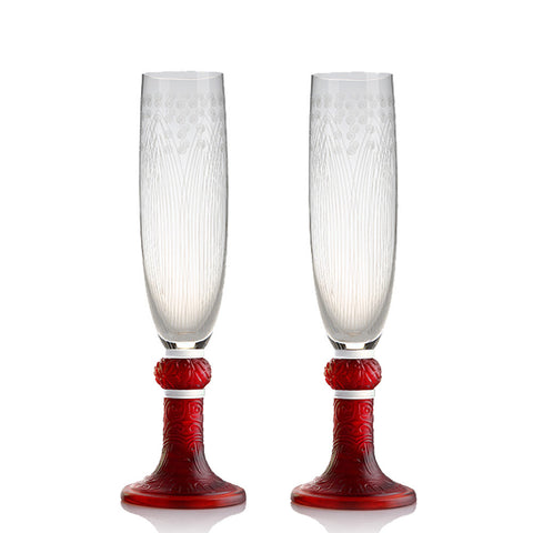 Champagne Flute (Plantain and Grain Pattern) - Swirling Blossom (Set of 2)
