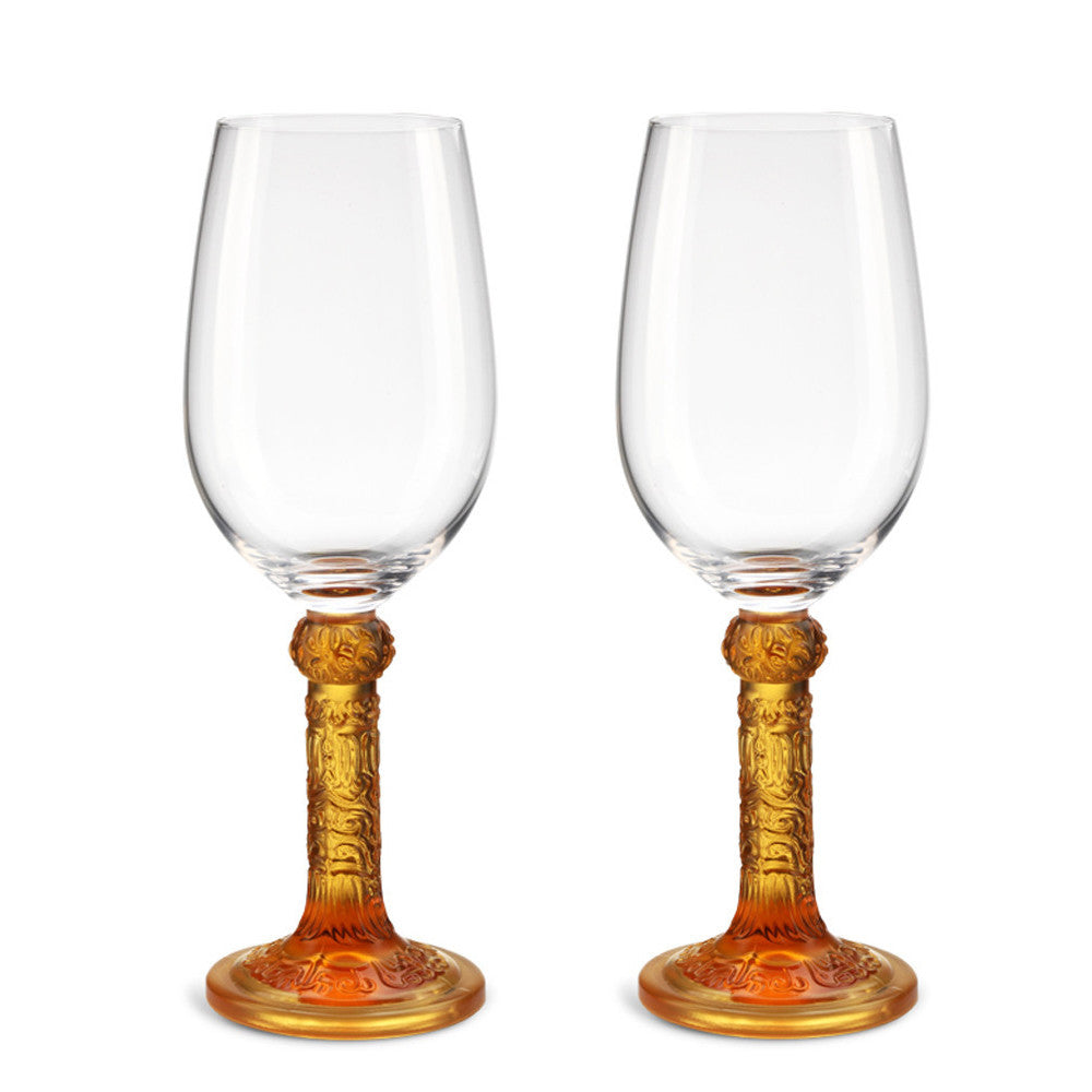 -- DELETE -- Crystal Wine Goblet, Bordeaux Glass, Flower Moon Duo (Set of 2) - LIULI Crystal Art