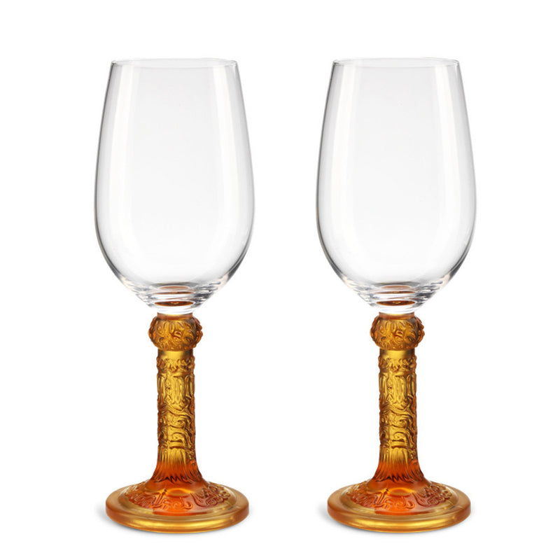 Wine Goblet, Bordeaux Glass - Flower Moon Duo (Set of 2) - LIULI Crystal Art - Amber.