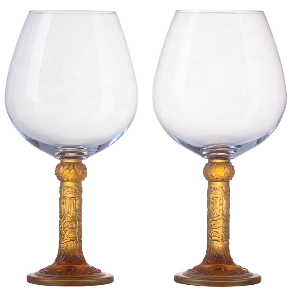 Wine Goblet, Burgundy Glass - Flower Moon Duo (Set of 2) - LIULI Crystal Art - [variant_title].