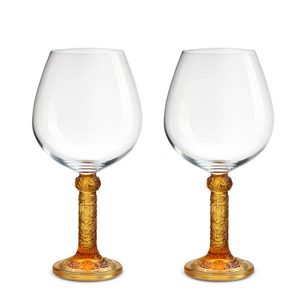 Wine Goblet, Burgundy Glass - Flower Moon Duo (Set of 2) - LIULI Crystal Art | Collectible Glass Art