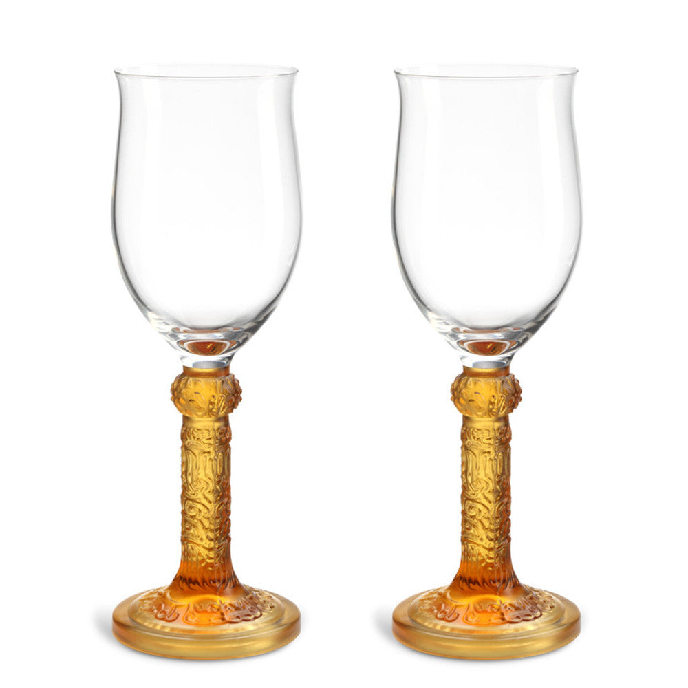 Wine Goblet, Dessert Wine Glass - Flower Moon Duo - LIULI Crystal Art