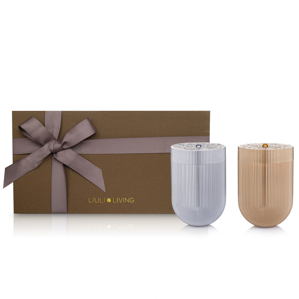 High Mountain Tea Gift Set Limited Edition, Peony Willow Container (Set of 2) - LIULI Crystal Art