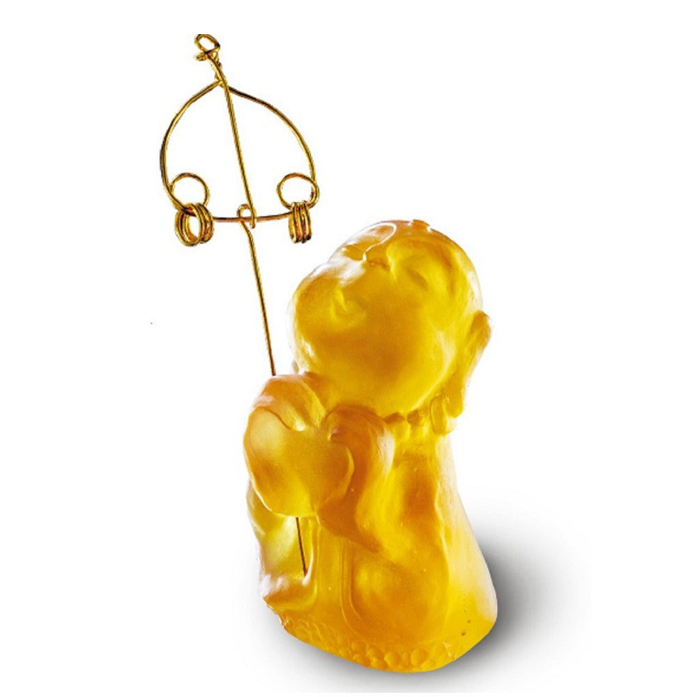 Joyous and Worry-Free - A Kind Heart Rewarded - LIULI Crystal Art - Amber.