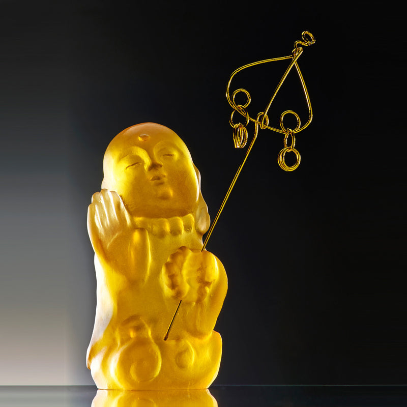 Crystal Buddha, Ksitigarbha Bodhisattva, Joyous and Worry-Free-I Am Not Afraid - LIULI Crystal Art
