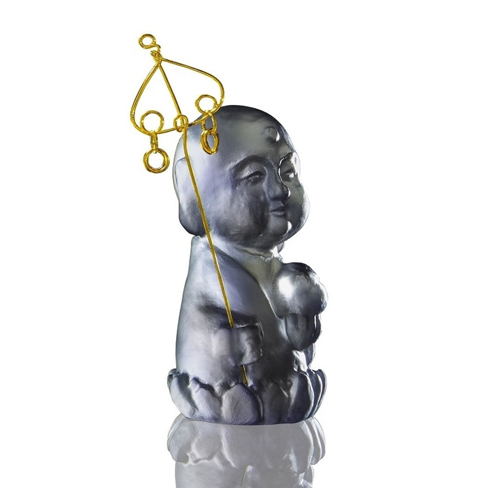 Joyous and Worry-Free - Healthy, Happy - LIULI Crystal Art - Dark Grey.