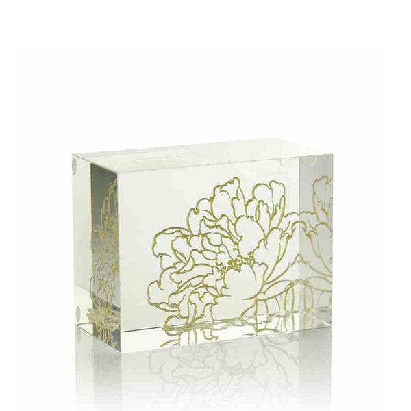 Crystal Display Base: Clear with Peony Engraving