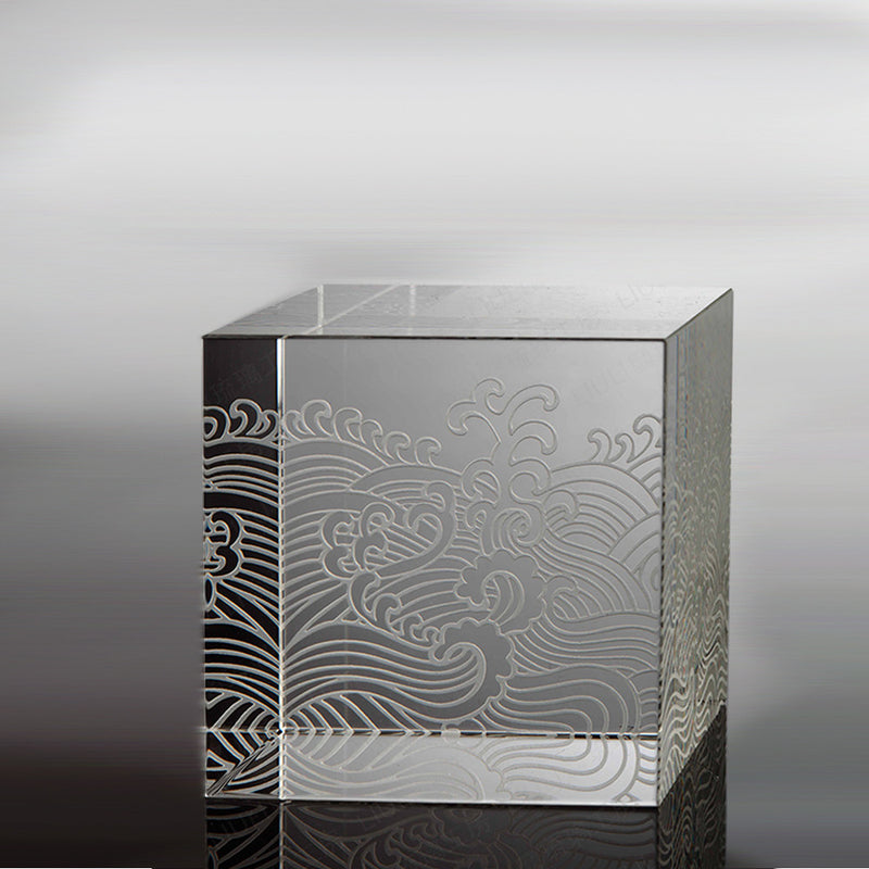 Crystal Display Base: Clear with Wavy Engraving - LIULI Crystal Art