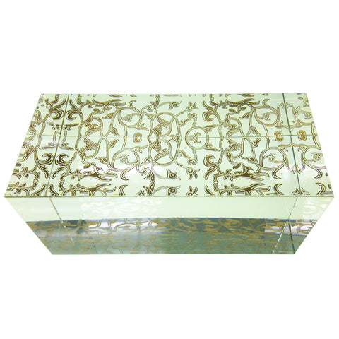 "Crystal Display Base: 3.00""L x 6.75""W x 3.00""H (Clear with Gold Floral Pattern)"