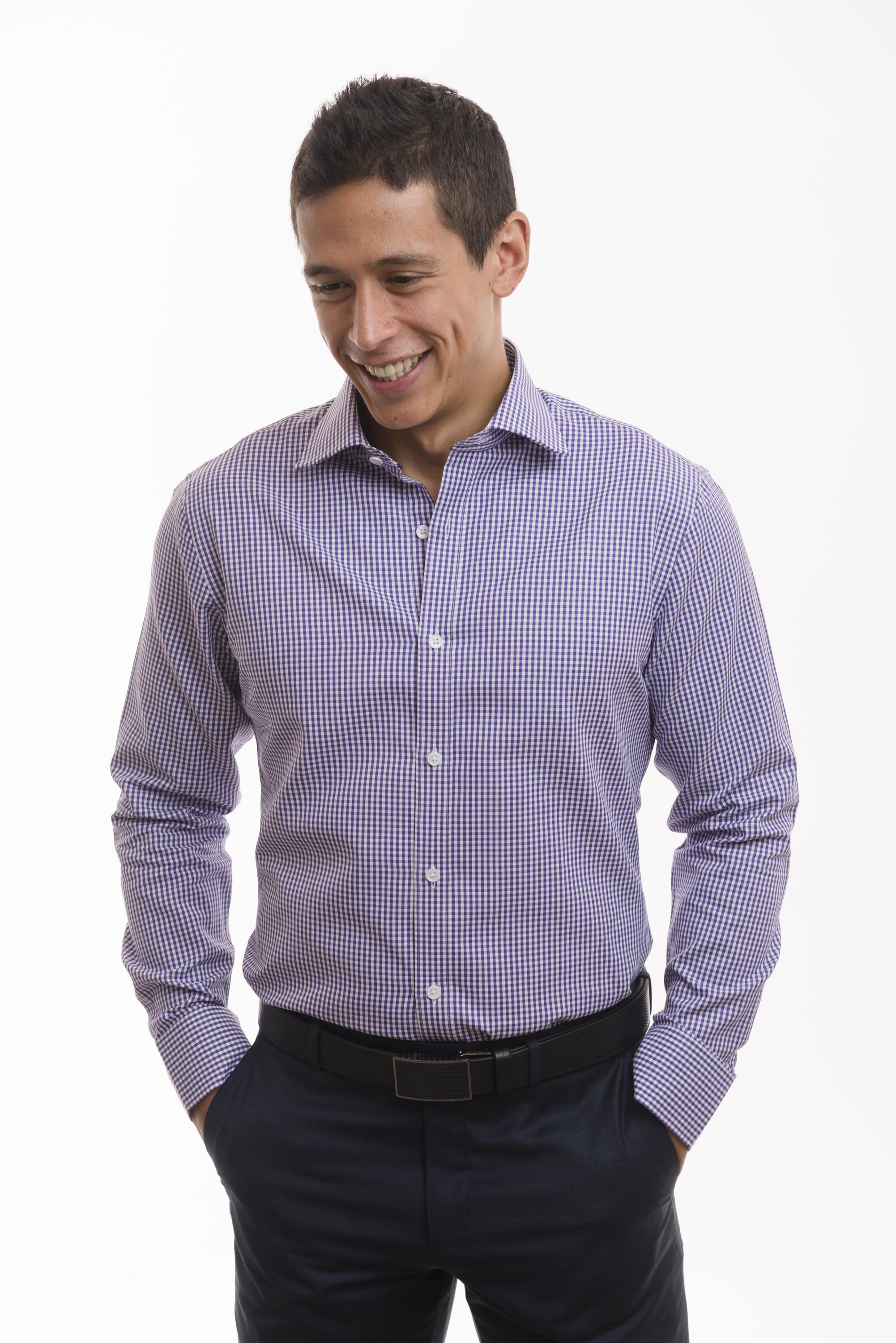 LXN Purple Gingham Check Spread Collar Men's Dress Shirts