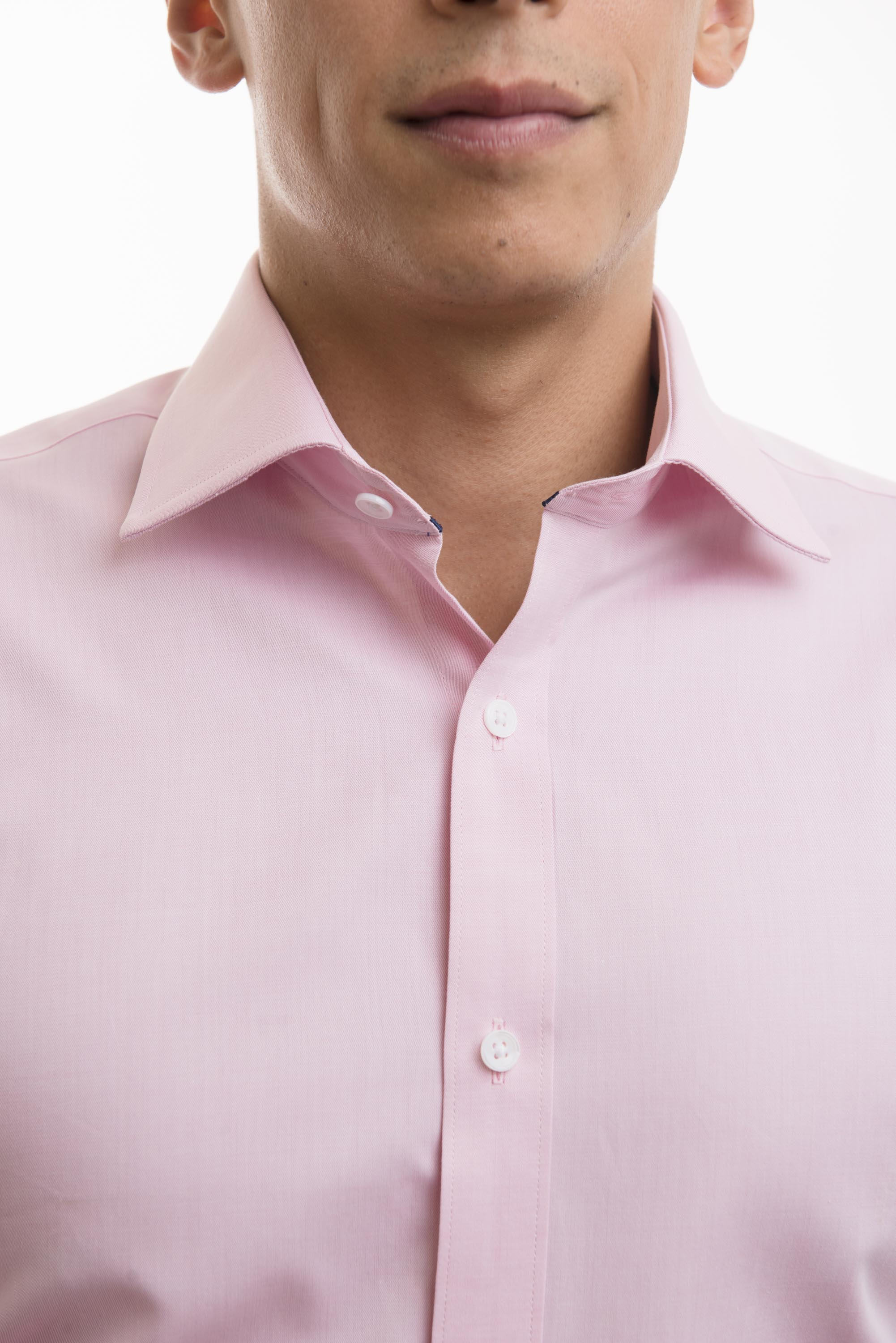 LXN Pink Semi-Spread Collar Men's Dress Shirts