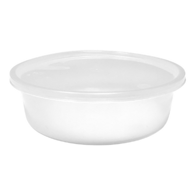 Plastic Round Microwaveable Containers & Lids (Pack of 10)