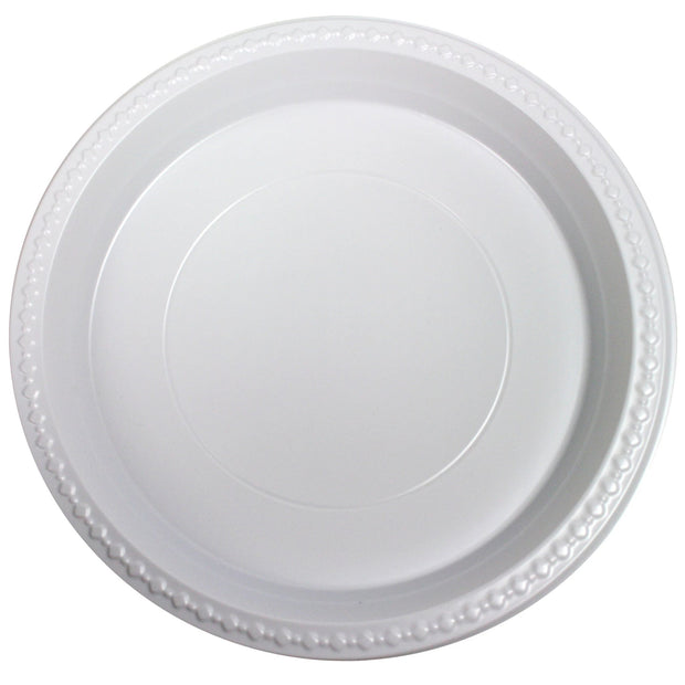 "White Plastic Plates 10"" 1 Compartment (50 Pack)"