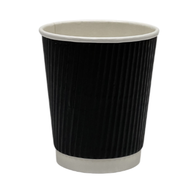 Black Ripple Disposable Paper Cups (25 Pack) - 3 Sizes Available