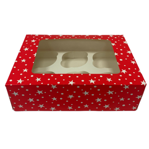 Red & White Cupcake Boxes With Window - Christmas (Holds 6 & 12)