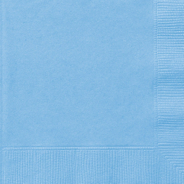 Baby Blue Square Paper Napkins 33cm (20 Pack)