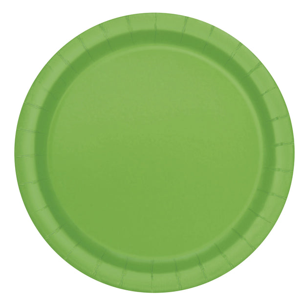 Lime Green Paper Plates 23cm (8 Pack)