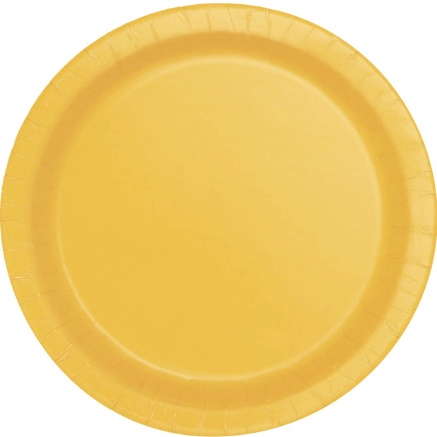 Yellow Paper Plates 23cm (8 Pack)