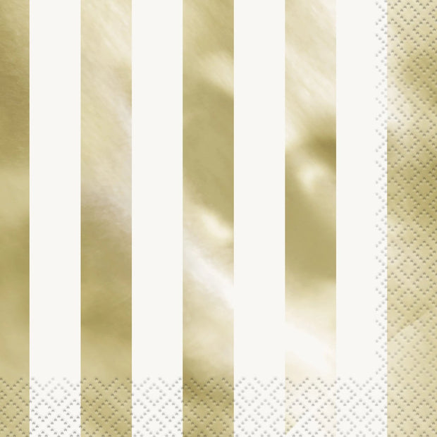 Metallic Gold Stripe Square Paper Napkins 33cm (16 Pack)