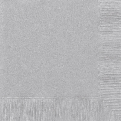 Silver Square Paper Napkins 33cm (20 Pack)