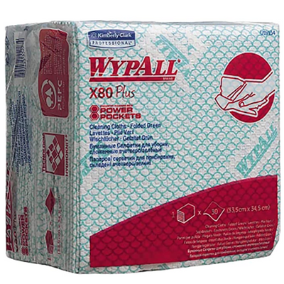 Green Kimberly Clark Wypall X80 Plus Cleaning Cloths - (Pack of 30)